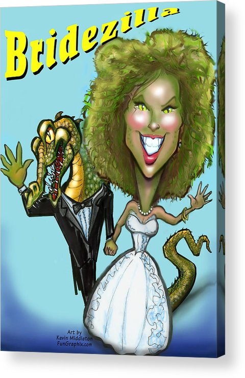 Bridezilla Acrylic Print featuring the greeting card Bridezilla by Kevin Middleton