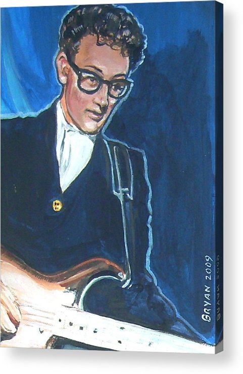Buddy Holly Acrylic Print featuring the painting Buddy Holly by Bryan Bustard