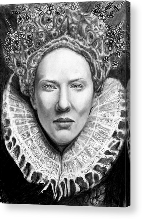 Queen Acrylic Print featuring the drawing Cate Blanchett As Queen Eliz. I by Carliss Mora