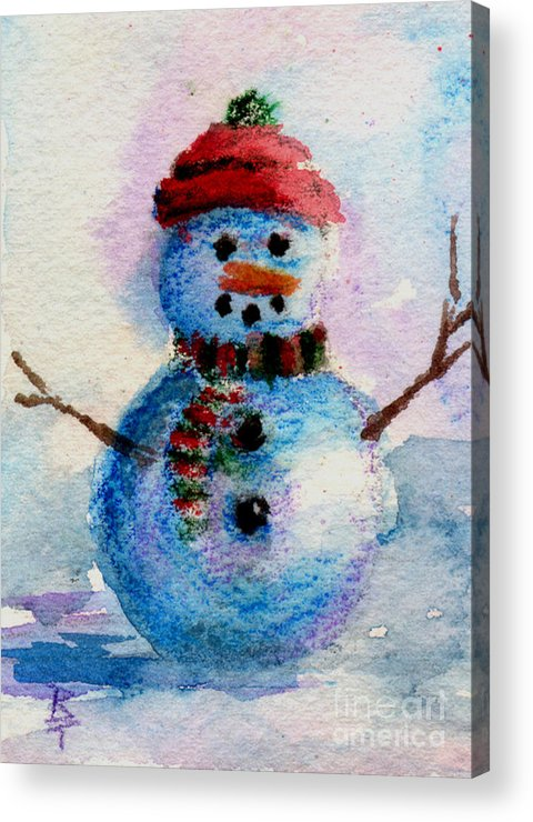 Snowman Acrylic Print featuring the painting Frosty Aceo by Brenda Thour