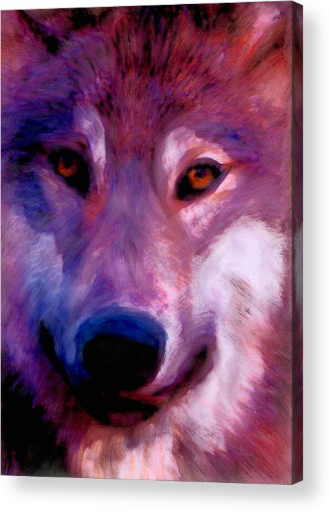 Wolves Clan Spirituality Native American Acrylic Print featuring the painting I Am Wolf Clan by FeatherStone Studio Julie A Miller