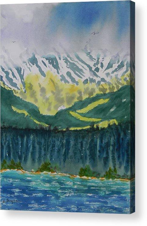 Juneau Landscape Acrylic Print featuring the painting Juneau Landscape by Warren Thompson