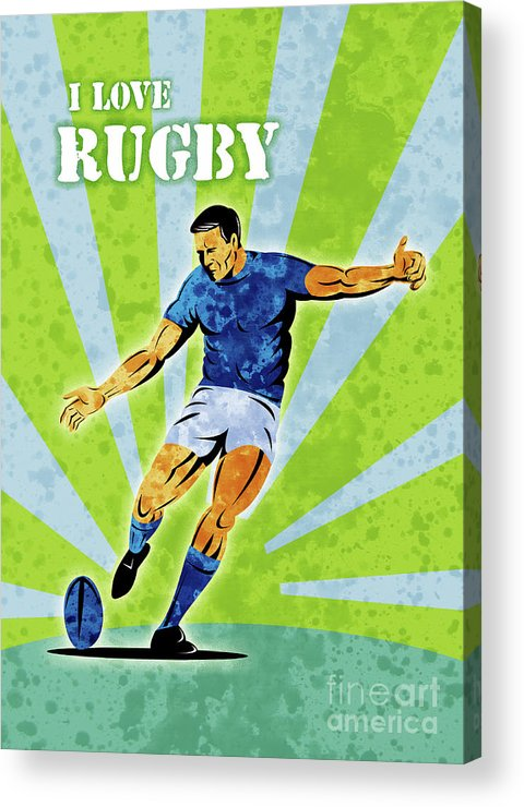 Rugby Acrylic Print featuring the digital art Rugby Player Kicking The Ball by Aloysius Patrimonio