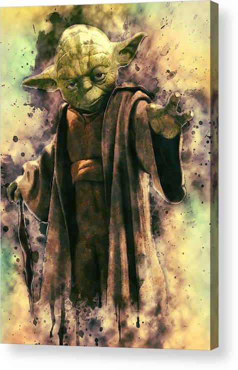 Yoda Acrylic Print featuring the digital art Yoda by Zapista Zapista