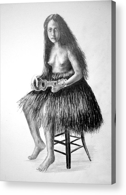Hawaiian Girl Acrylic Print featuring the painting 1919 Hawaiian Girl by Paul Sandilands