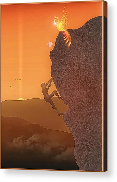 Symbolic Digital Art Acrylic Print featuring the digital art Ascension by Harald Dastis