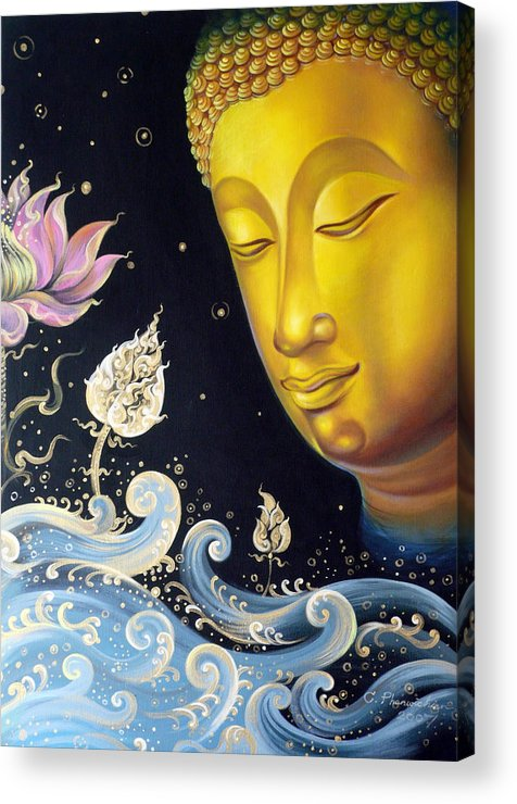 Acrylic Acrylic Print featuring the painting The Light Of Buddhism by Chonkhet Phanwichien