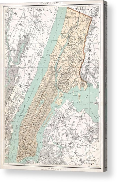 New York City Acrylic Print featuring the drawing Vintage Map Of New York City by CartographyAssociates
