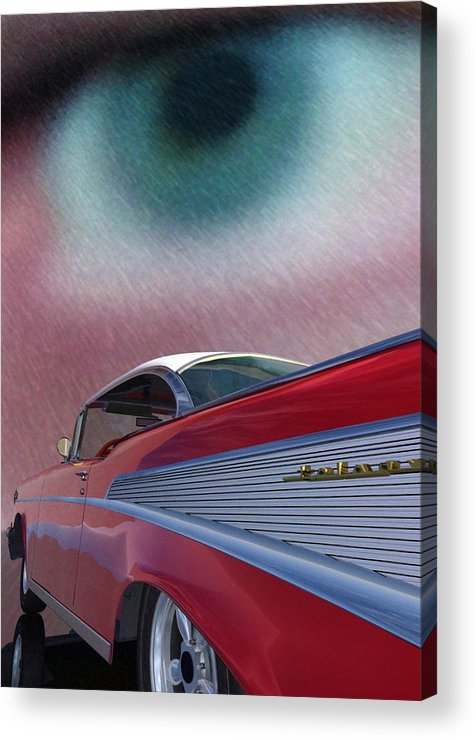Classic Cars Acrylic Print featuring the digital art A Second Look by Richard Rizzo