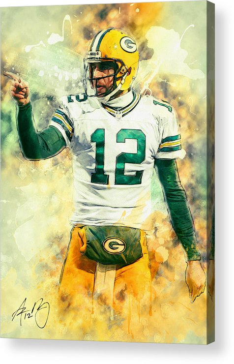 Aaron Rodgers Acrylic Print featuring the painting Aaron Rodgers by Zapista Zapista