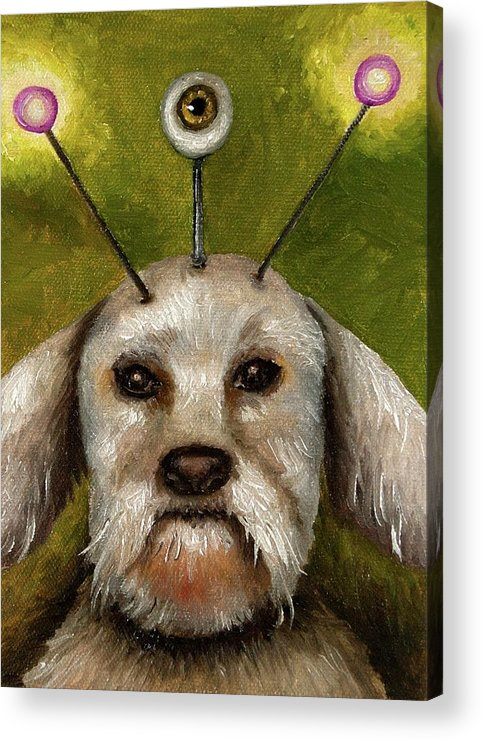 Dog Acrylic Print featuring the painting Alien Dog by Leah Saulnier The Painting Maniac