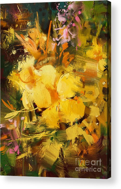 Abstract Acrylic Print featuring the painting Allamanda by Tithi Luadthong