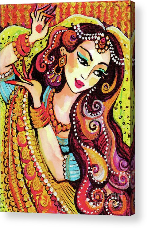 Indian Woman Acrylic Print featuring the painting Abhinaya by Eva Campbell