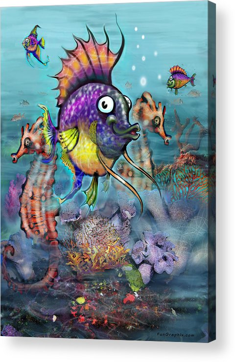 Aquarium Acrylic Print featuring the painting Aquarium by Kevin Middleton