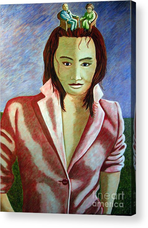 Identity (symbolic Art) Acrylic Print featuring the painting Are We Our History Our Family Our Dna Or Our Genes by Tanni Koens