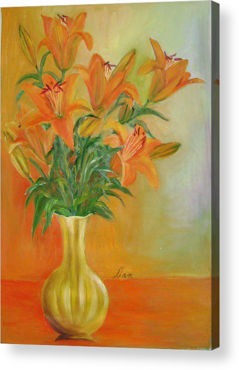Floral Acrylic Print featuring the painting Autumn Profusion by Lian Zhen