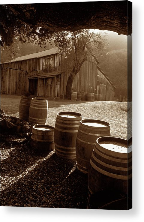 Old Barns Acrylic Print featuring the photograph Barn And Wine Barrels 2 by Kathy Yates