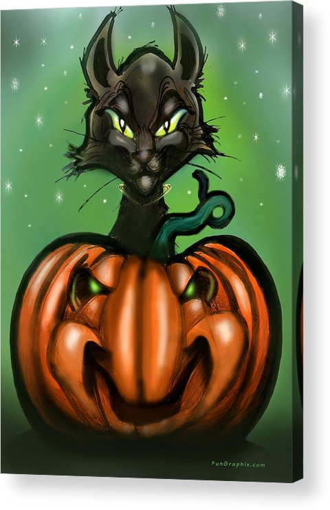 Halloween Acrylic Print featuring the greeting card Black Cat N Pumpkin by Kevin Middleton
