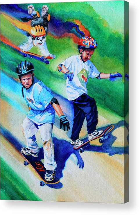 Skateboard Acrylic Print featuring the painting Blasting Boarders by Hanne Lore Koehler