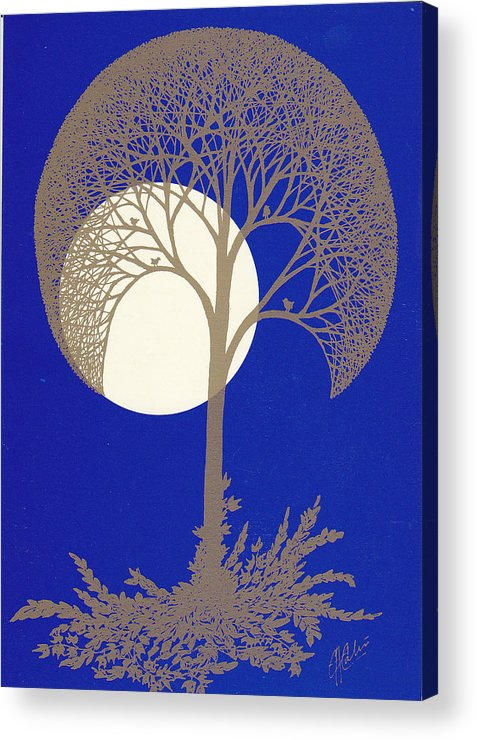 Acrylic Print featuring the drawing Blue Gold Moon by Charles Cater
