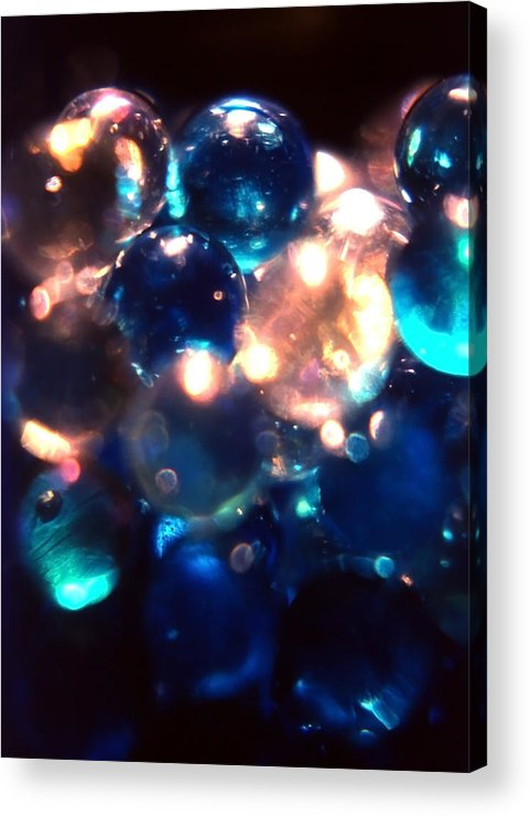 Marbles; Blue; White; Clear; Transparent; Bottle; Glass; Spotlight; Light; Refract; Abstract Acrylic Print featuring the photograph Bottled Marbles by Steve Ohlsen