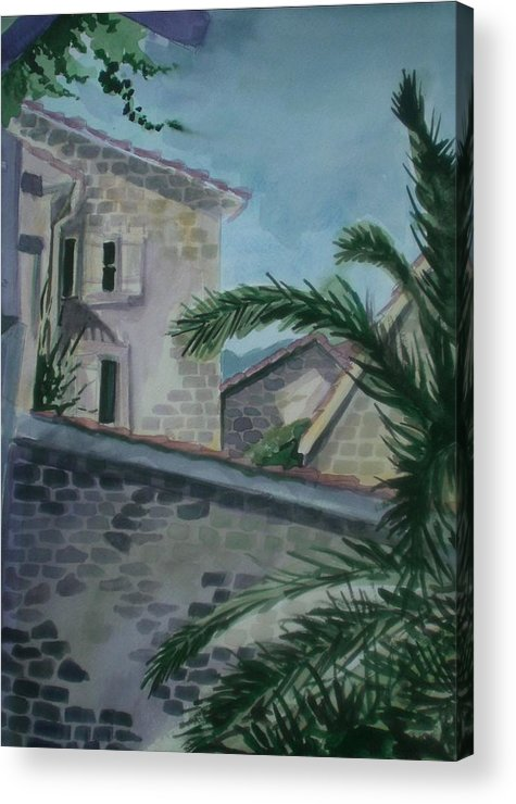 Montenegro Acrylic Print featuring the painting Budva Old Town by Aleksandra Buha