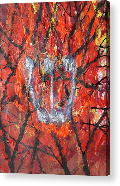 Judaica Acrylic Print featuring the painting Burning Bush by Mordecai Colodner