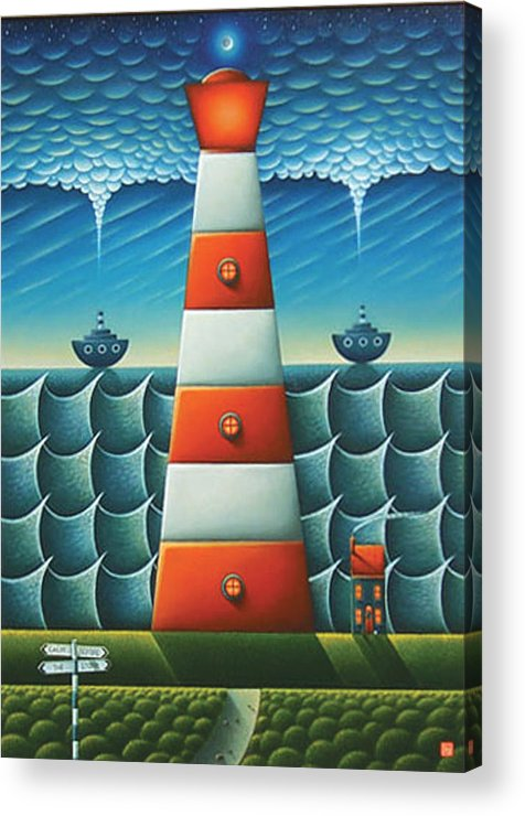 Lighthouse Acrylic Print featuring the painting Calm Before The Storm by Connor Maguire