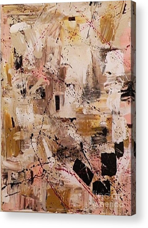 Non-objective Acrylic Print featuring the painting Cappuccino by Shirley Barone