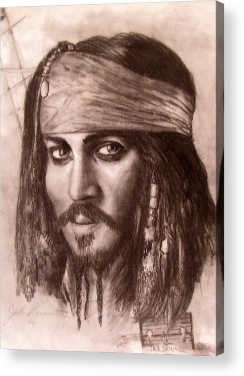 Pirate Acrylic Print featuring the drawing Capt.jack by Jack Skinner