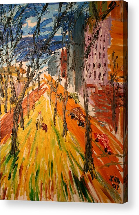 New York City Acrylic Print featuring the painting Central Park East by Ira Stark