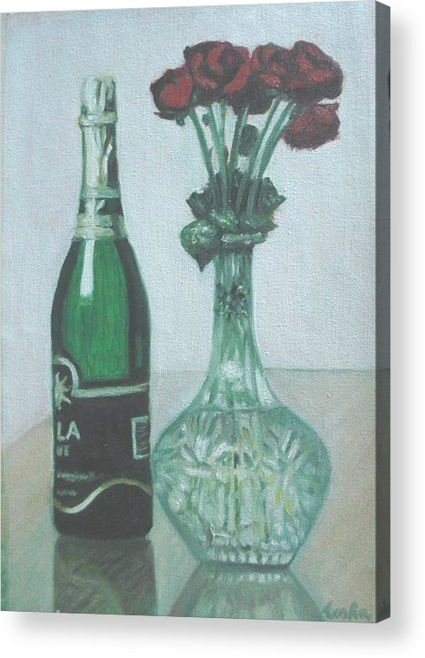 Champagne Acrylic Print featuring the painting Champagne And Roses by Usha Shantharam