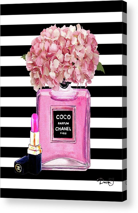 a38672760a87b3 Chanel Poster Pink Perfume Hydrangea Print Acrylic Print by Del Art