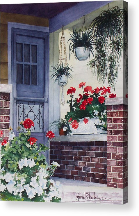 Floral Acrylic Print featuring the painting Cheery Welcome by Anne Rhodes