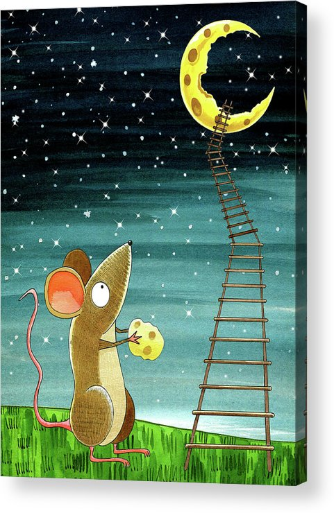 Mouse Acrylic Print featuring the drawing Cheese Moon by Andrew Hitchen