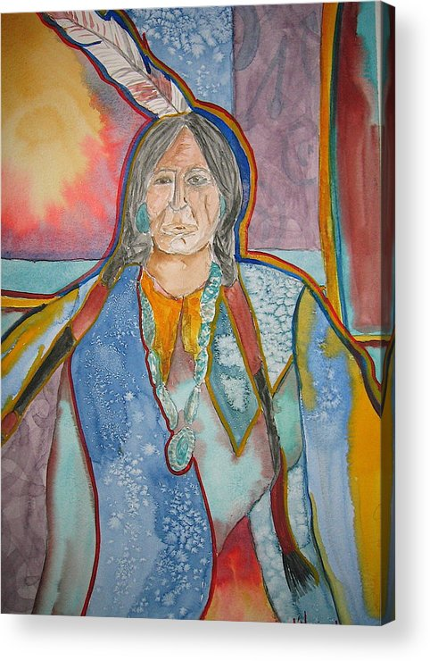 Native American Style Acrylic Print featuring the painting Chief by K Hoover