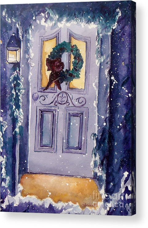 Holiday Scene Acrylic Print featuring the painting Christmas Eve by Jan Bennicoff