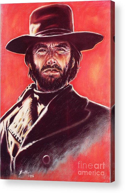 Paper Acrylic Print featuring the painting Clint Eastwood by Anastasis Anastasi