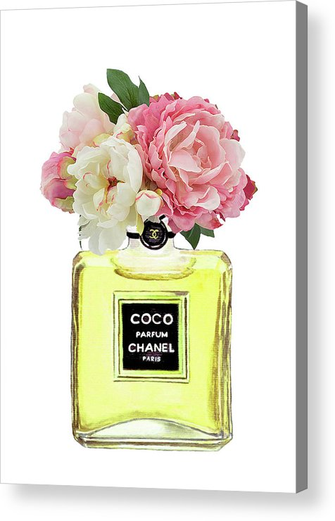 293fa211a36d27 Chanel Painting Acrylic Print featuring the painting Coco Chanel Perfume  With Pink Peony by Del Art