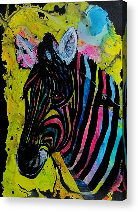 Zebras Acrylic Print featuring the painting Colors Of Peace by Liz Borkhuis