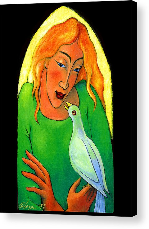 Tablitos Acrylic Print featuring the painting Conversation by Angela Treat Lyon