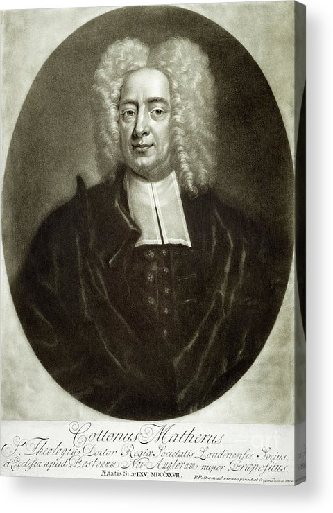 18th Century Acrylic Print featuring the drawing Cotton Mather 1663-1728 by Granger