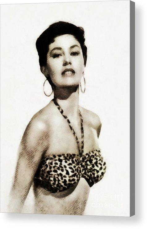 Cyd Acrylic Print featuring the painting Cyd Charisse, Actress And Dancer by John Springfield