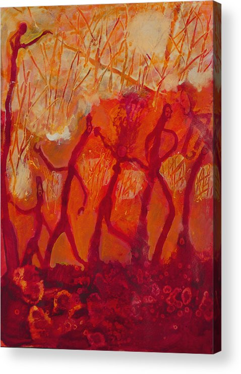Red Acrylic Print featuring the painting Dancers by Robert Bissett