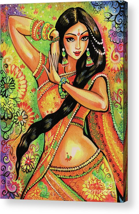 Indian Dancer Acrylic Print featuring the painting Dancing Nithya by Eva Campbell