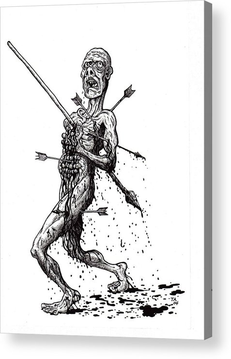 Dark Acrylic Print featuring the drawing Death March by Tobey Anderson