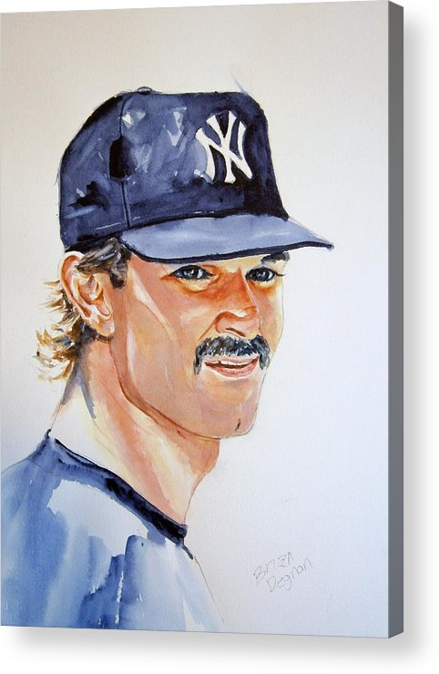 Mattingly Acrylic Print featuring the painting Don Mattingly by Brian Degnon