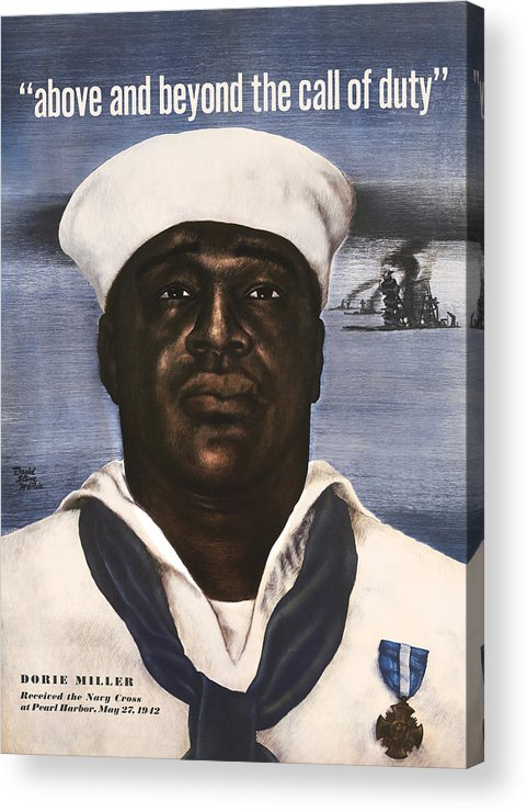 Dorie Miller Acrylic Print featuring the painting Dorie Miller - Above And Beyond - Ww2 by War Is Hell Store