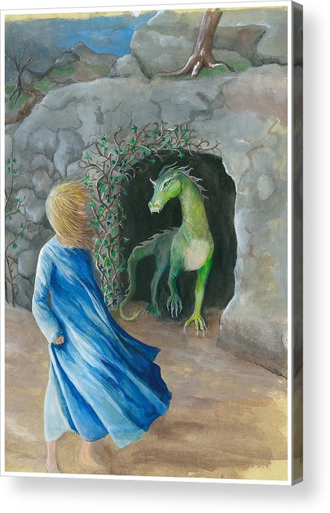 Dragon Acrylic Print featuring the painting Dragon Princess 1 by Sally Balfany