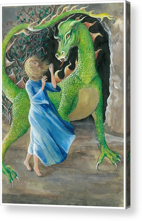 Dragon Acrylic Print featuring the painting Dragon Princess 2 by Sally Balfany